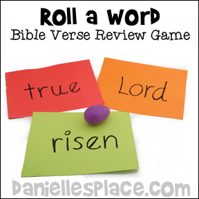 """Roll a Word"" Bible Verse Review Game for Children's Ministry from www.daniellesplace.com"
