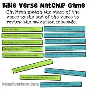 Salvation Bible Verse Printable  Matchup Game for Children's Ministry from www.daniellesplace.com