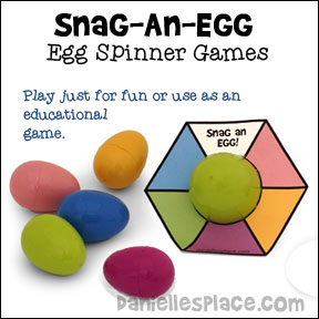 Snag-an-Egg Spinner Games - Easter Eggs Aren't Just for Easter Anymore! - Check out these fun educational games you can make with Easter Eggs. - Copyright 2015,  www.daniellesplace.com