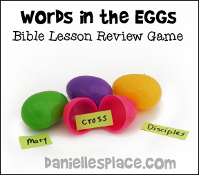 """Words in the Eggs"" Bible Lesson Review Game for Children's Ministry from www.daniellesplace.com"