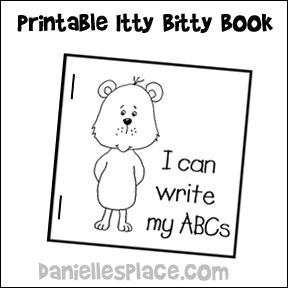 """I Can Write my ABCs"" Printable Itty Bitty book for pretend play from www.daniellesplace.com"