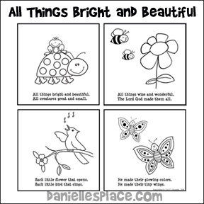"""All Things Bright and Beautiful"" Coloring Book for Children from www.daniellesplace.com"