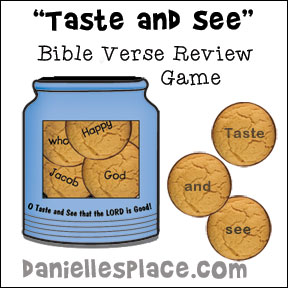 """Taste and See that the Lord is Good"" Cookie Bible Verse review game for Children's Ministry from www.daniellesplace.com"