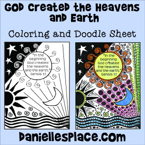 """God Created the Heavens and Earth"" Coloring and Activity sheet for Sunday School"
