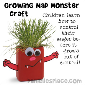 Growing Mad Monster Craft - Children use this monster to redirect their anger before it grows out of control.  www.daniellesplace.com