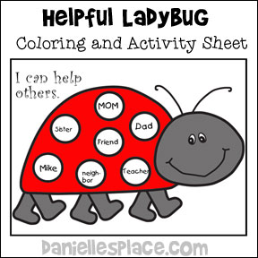 Free Helpful Ladybug Activity Sheet - Use this sheet to encourage your children to be helpful, review numbers, letters, or words, or play a Bingo Game. Go to www.daniellesplace.com or click on the image to follow the link to get your free printable today!