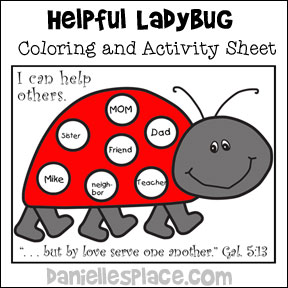 Ladybug Activity Sheet from www.daniellesplace.com