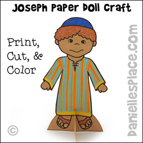Joseph Wearing his Coat of Many Colors Paper Doll Craft from www.daniellesplace.com