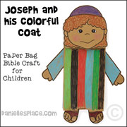 Joseph with Coat of Many Colors Paper Bag Puppet Bible Craft from www.daniellesplace.com - click on the image to go to the craft