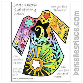 Search And Find Josephs Colorful Coat Coloring Activity Sheet