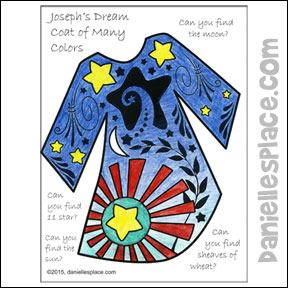Search and Find Joseph's Colorful Coat Coloring and Activity Sheet - Children find objects from Joseph's Dream - sun, moon, stars, wheat sheaves. From www.daniellesplace.com
