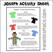 Joseph's Coat of Many Colors Activity Sheet used to review the lesson on www.daniellesplace.com