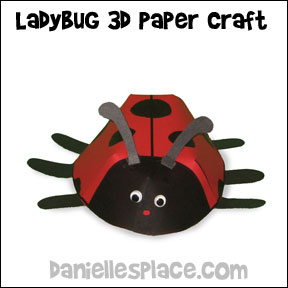3D Paper Ladybug Craft from www.daniellesplace.com