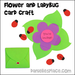 Ladybugs and FLower Card Craft for Children from www.daniellesplace.com. Click on the picture to follow the link for directions.