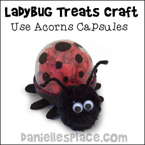 Ladybug Candy Holder Craft for Children - Make these adorable creatures from plastic acorn capsules go to www.daniellesplace.com or click on the picture to follow the link.