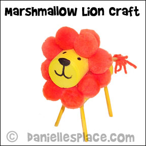 Foam Marshmallow Lion Craft from www.daniellesplace.com