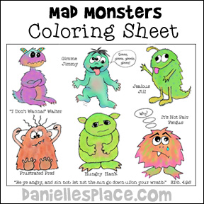 "Mad Monsters Coloring Sheet for ""In Your Anger Do Not Sin"" Bible Lesson from www.daniellesplace.com"