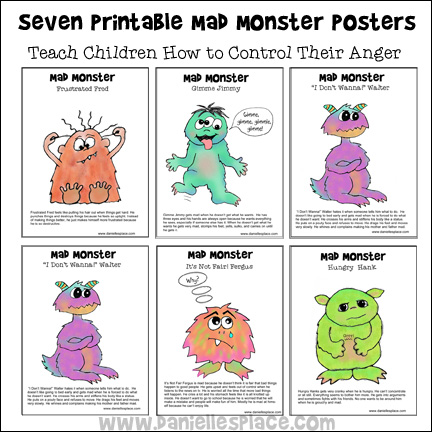 Seven Printable Mad Monster Posters or Coloring Sheets for Children - Great to use to teach your children how to control their anger from www.daniellesplace.com