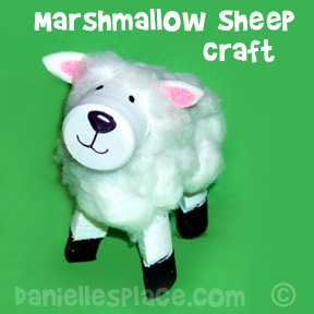 Marshmallow Sheep Craft for Children - This is a great craft to sell at craft fairs! from www.daniellesplace.com