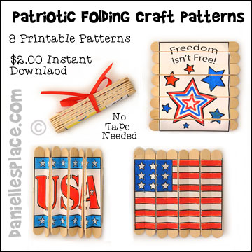 Patriotic Folding Craft Stick Printable Patterns for the Fourth of July Craft - 8 Different Instant Downloadable Patterns. Just color and glue them to craft sticks, then cut and fold. For complete directions go to www.daniellesplace.com or click on the image and follow the link. ©2015