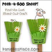 Peek-a-Boo Sheep Cup Craft for Children from www.daniellesplace.com