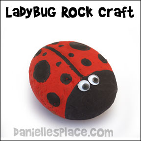 Ladybug Rock Craft - Super easy and cheap craft for children of all ages. Use the ladybug rock as a paper weight or a garden decoration. Go to www.daniellesplace.com  or click on the picture to follow the link.