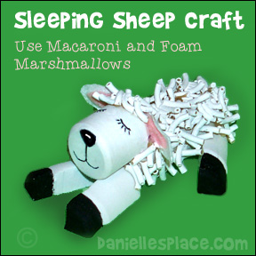 Sleeping Sheep Craft made with foam marshmallows and macaroni noodles from www.daniellesplace.com - Great to sell at craft fairs!