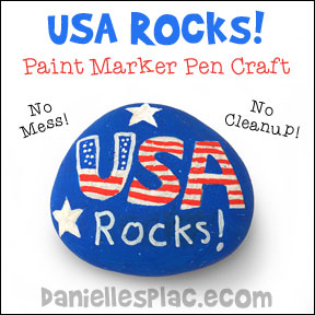 USA Rocks! Rock Craft for the Fourth of July - Children use  paint marker pens to decorate the rocks. There is no mess and no cleanup with these markers!