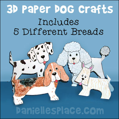 3D Folded Paper Dog Crafts - Includes 5 different Breads from www.daniellesplace.com