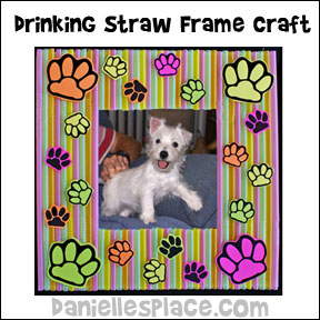 Paw Print Drinking Straw Frame Craft for Kids from www.daniellesplace.com