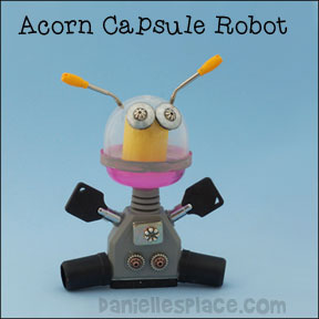 Robot Craft for Children using Acorn Capsules - These robots cost less than twenty cents to make. Use recycled parts.