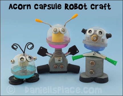 Robot Craft Made with Acorn Capsules for Children from www.daniellesplace.com 2015