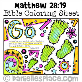 Bible Verse Coloring Sheet - Go therefore and teach all nations