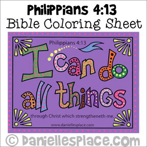 """I can do all Things""  Bible verse coloring Sheet from www.daniellesplace.com"