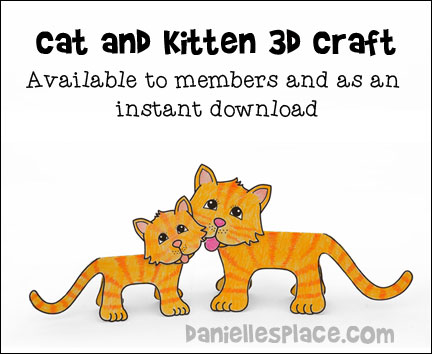 Cat and Kitten 3D Paper Craft for Children from www.daniellesplace.com