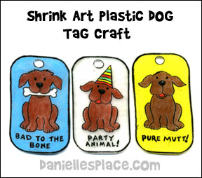 Shrink Art Dog Tab Craft for children