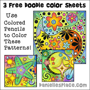 Three Free Doodle Coloring Sheets - Win PrismaColor Colored Pencils through our Amazon Giveaway! Follow the link to www.daniellesplace.com to find out how you could win!