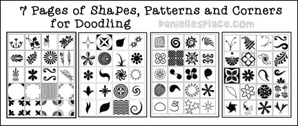 7 pages of shapes patterns and corners for doodling