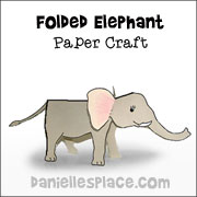Folded Paper Elephant Craft for Kids