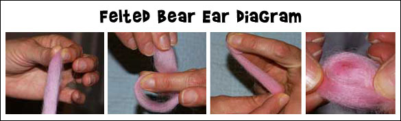 Felted Bear Ear Diagram