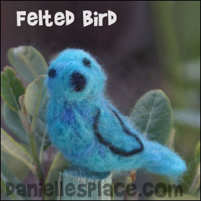 Felted Blue Bird Craft