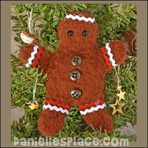 Felted Gingerbread Man Tree Ornament