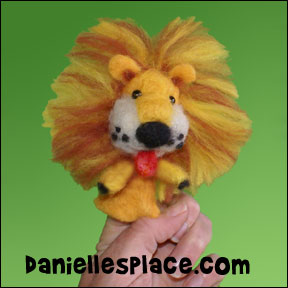 Felted lion puppet