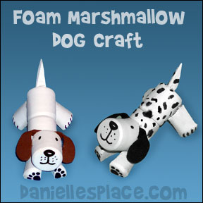 Dog Craft for children made with Foam Marshmallows from www.daniellesplace.com