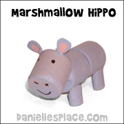 Hippo Marshmallow Craft for Kids