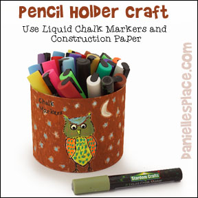 Pencil holder decorated with liquid chalk markers from www.daniellesplace.com