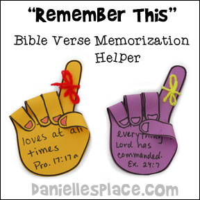 """Remember This"" Handprint Bible Verse Memorization Helper Craft for Sunday School and Children's Ministry from www.daniellesplace.com"