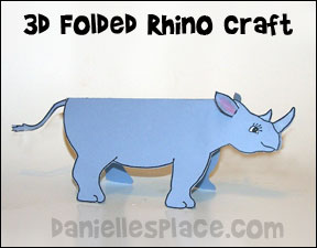 Folded Paper Rhino Craft from www.daniellesplace.com