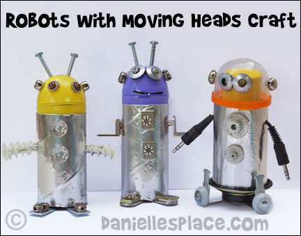 Robots with Moving Heads Craft for Children from www.daniellesplace.com