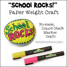 "Back-to-school ""School Rocks' Paper Weight Craft for Children from www.daniellesplace.com"
